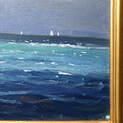 "William Lowe Oil on Canvas ""Old Timer Departing Nantucket Harbor"""