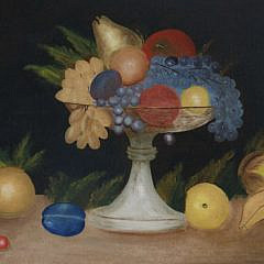 """Naive Oil on Canvas """"Tabletop Fruit Still Life"""", 19th Century"""