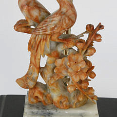 Antique Chinese Soapstone Phoenix Bird Lamp