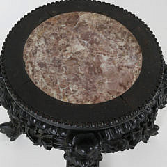 Asian Carved Teakwood Marble Top Taboret