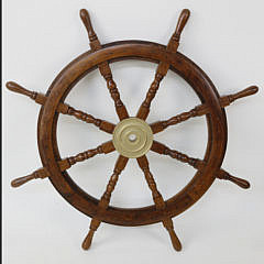 Contemporary Mahogany and Brass Ship's Wheel