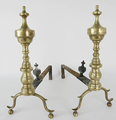 1542-54 Brass Multi Turned Finial Top Andirons A_MG_4252