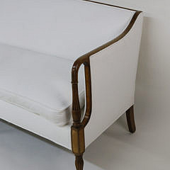 Federal Style White Upholstered Mahogany Sofa