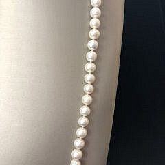 White Fresh Water Pearl Necklace with 14k Yellow Gold Starfish Clasp
