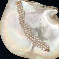 White Fresh Water Pearl Triple Strand Bracelet with 14k Yellow Gold Filigree Clasp