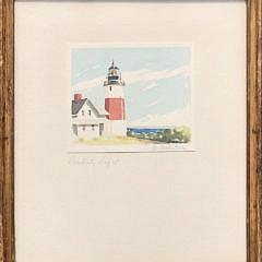 "Doris and Richard Beer Watercolor on Paper ""Sankaty Light"""