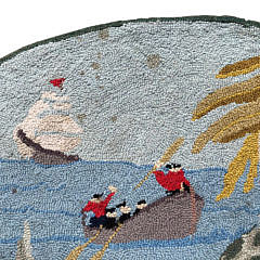 "Claire Murray Oval Hooked Rug ""Mermaid and Approaching Sailors"""