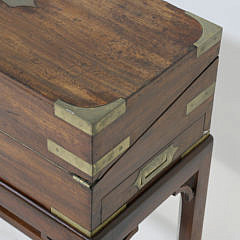 19th c. Mahogany Brass Bound Lap Desk on Stand