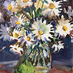 "Sybil Goldsmith, Oil on Canvas, ""Daisies in a Glass Jar and Green Pear"""