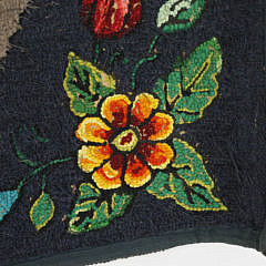 Antique Hooked Rug Depicting a Countryside Homestead with Floral Boarder