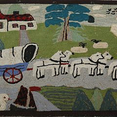 Antique Hooked Rug Depicting a Horse Drawn Carriage Through the Countryside