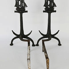 Pair of Vintage Cast Iron Ship and Anchor Andirons