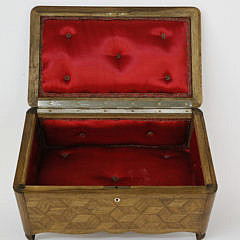 Geometric Tumbling Block Parquetry Inlaid Sewing Box, 19th c.