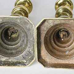 Pair of English Brass Beehive Pushup Candlesticks, 19th Century