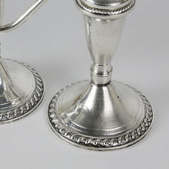 Pair of Sterling Silver Three-Light Candelabra