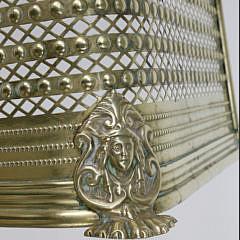 Antique English Pierced Brass Fireplace Fender