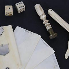 Four Misc. 19th c. Whale Ivory and Whalebone Gentleman's Accouterments
