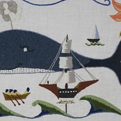 Vintage Nantucket Crewel Work Embroidered Folk Art Whaling Scene