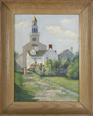 "2350-955 Oil on Artists Board, ""Stone Alley, Nantucket"" A_MG_3837"