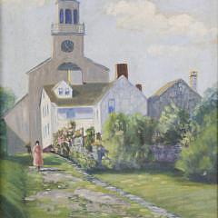 Stone Alley – Nantucket Antique Oil on Artist's Board