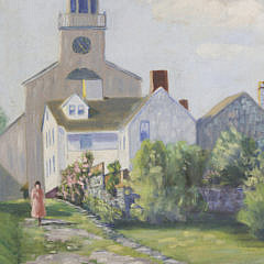 Stone Alley – Nantucket Antique Oil on Artist's Board