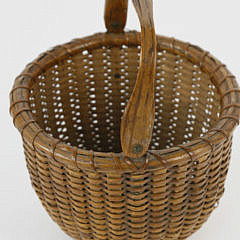 Finely Woven Antique Nantucket Swing Handle Basket, circa 1900