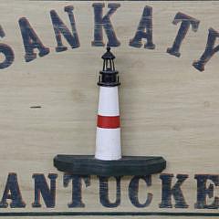 Jack DeRosa Carved Nantucket Sankaty Lighthouse Folk Art Trade Sign