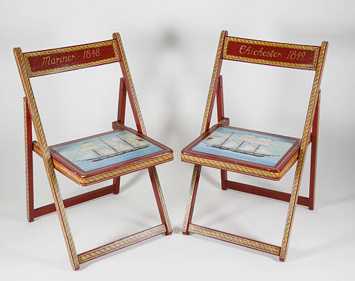 25-4892 Pair of Hand Painted Nautical Folding Chairs A_MG_4436