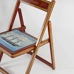 Pair of Red Hand Painted Nautical Theme Folding Chairs