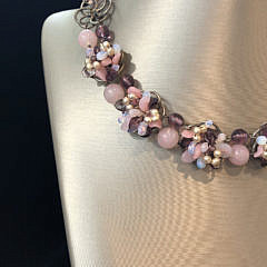 French Rose Quartz, Amethyst, Moonstone and Faux Seed Pearl Choker Necklace
