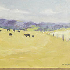 "Pat Gardner Oil on Canvas ""Nantucket Pastural Landscape with Cattle"""