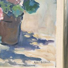 "Sybil Goldsmith Oil on Canvas ""Pink Geraniums"""