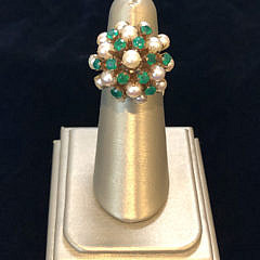 302-4800 emerald and pearl bubble ring IMG_4026