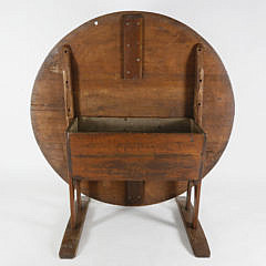 18th Century New England Pine Shoe Foot Hutch Table