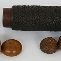 19th c. Sailor Made Needle Case with Carved Wood Acorn Nutmeg Grinder and Box