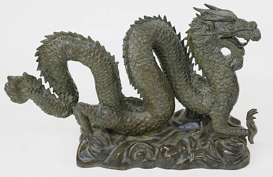 392-3771 Chinese Patinated Bronze Dragon Sculpture A_MG_3627