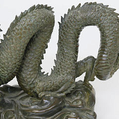 Chinese Patinated Bronze Dragon Sculpture