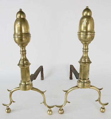 39268 Pair of Brass New York Bullet Top Andirons A_MG_4245