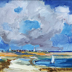 "Sybil Goldsmith Oil on Canvas ""View of the Town of Nantucket from Monomoy"""