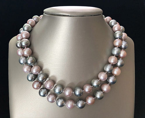 40099-101 Grey and Pink Pearl Necklace A IMG_4155
