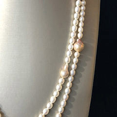 6.5m-14mm Mauve and White Fresh Water Pearl Necklace