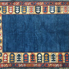 40523 Vintage Turkish Wool Carpet with Blue Field A IMG_4642