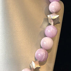 18mm Kunzite Bead and Cubic Silver Necklace