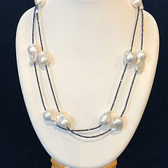 White Baroque Fresh Water Pearl Necklace on Spinel Strand