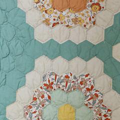 1940's Grandmother's Flower Garden Patchwork Quilt
