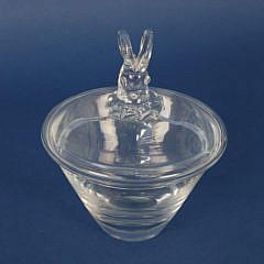 Signed Steuben Clear Glass Ram's Head Covered Bon Bon Dish
