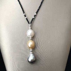 White and Gold South Sea and Grey Tahitian Pearl Lariat Necklace