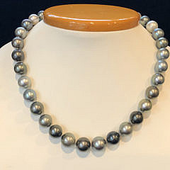 Multi-Color Grey & Silver Tahitian Pearl Necklace
