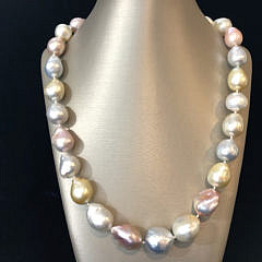 Very Fine Multi-color South Sea and Pink Fresh Water Baroque Pearl Necklace