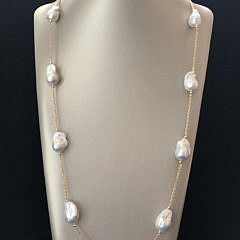 41302-101 fine white baroque pearl long necklace A IMG_4130
